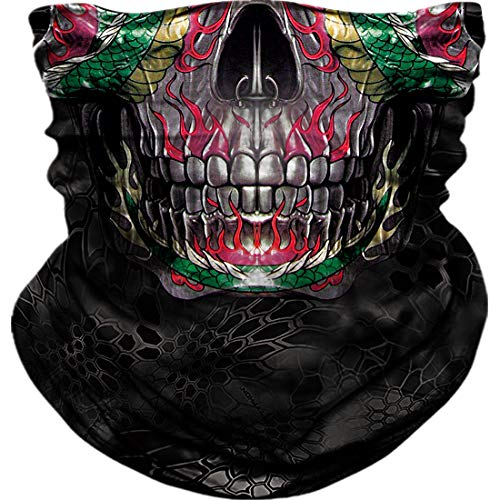 Seamless Neck Gaiter Shield Scarf Bandana Face Mask Seamless UV Protection for Motorcycle Cycling Riding Running Headbands (A-01)
