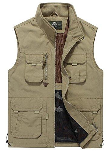 Herren Outdoor Weste mit vielen Taschen | super praktisch Sports Jacke Weste (X-Large, Khaki 87)