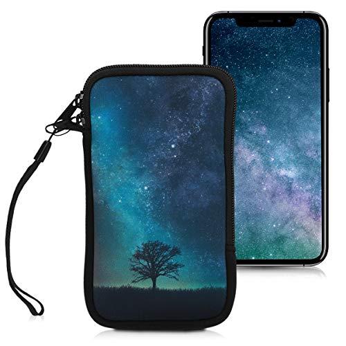 """kwmobile Handytasche für Smartphones L - 6,5\"""" - Neopren Handy Tasche Hülle Cover Case Schutzhülle - Galaxie Baum Wiese Design Blau Grau Schwarz - 16,2 x 8,3 cm Innenmaße"""