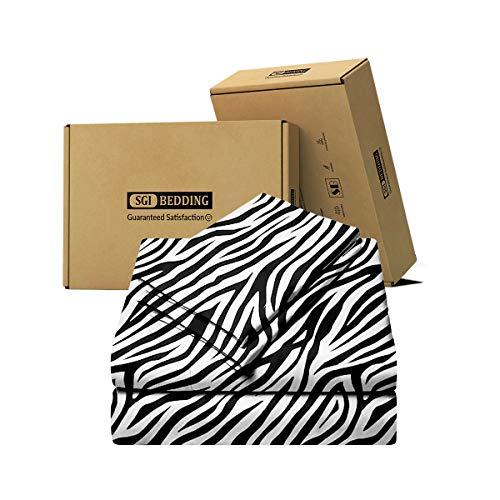 SGI bedding 600 Thread Count Super Soft 100% Cotton King Size Bed Sheets Zebra Print