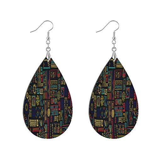 ADMustwin Wooden Earrings Ethnic Tribal Pattern Aztec for Women Girls Silver Plated Copper Earrings Teardrop Earrings Lightweight Dangle Earrings Fashion Jewelry