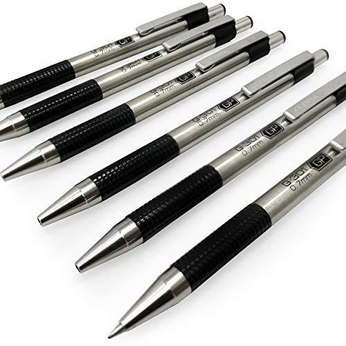 Zebra G-301 Retractable Rollerball Pen - Stainless Steel Barrel - 0.7mm - Black Ink - Pack of 6