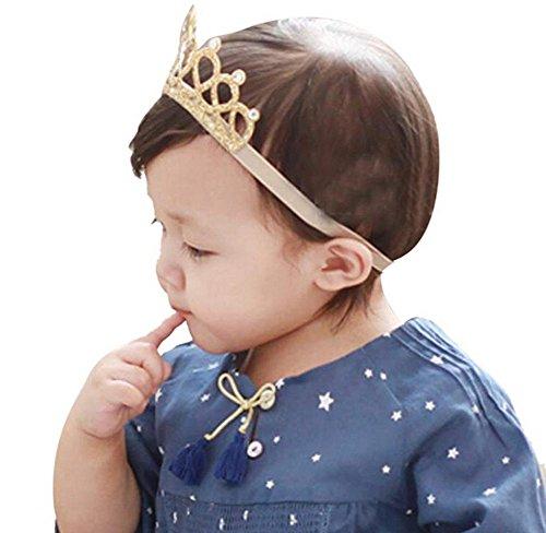 桜の顔 ティアラ風 ベビーヘアバンド 誕生日 お食い初め 星 ベビー用 クラウン 王冠 (ゴールド)