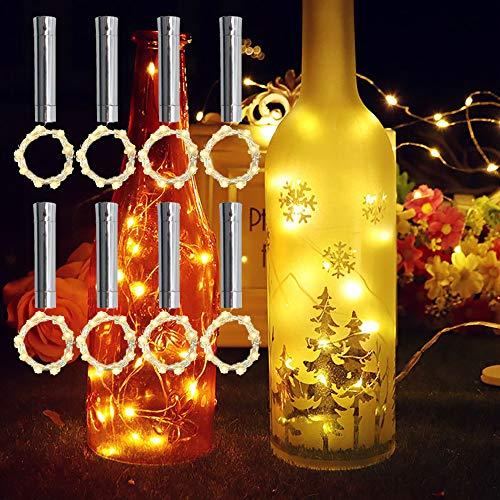 TINYOUTH 8PCS Warm White Bottle Lights with Cork, 2M/6.5FT 20 LED Wine Bottle Cork Lights, Always Lighting, AA Battery Operated Cork String Light for DIY Bottle Party Wedding Christmas Decor