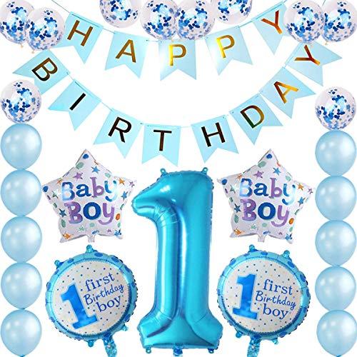 tarumedo 1. Geburtstag Junge Dekorationen, 1. Geburtstag Folie Ballon Happy Birthday Girlande Banner Blau Luftballons Konfetti Balloon Folienballon Baby Junge Geburtstags Party Dekoration