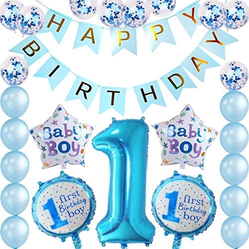 tarumedo 1. Geburtstag Junge Dekorationen, 1. Geburtstag Folie Ballon Happy Birthday Girlande Banner Blau Luftballons Konfetti Balloon Folienballon Baby Junge Geburtstags Party Dekoration