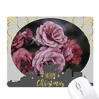 オールドピンクのバラの花 クリスマスイブのゴムマウスパッド