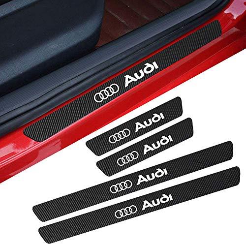 L&U 4 Stücke Carbon Fiber Einstiegsleisten Schutz Reflektierend Aufkleber Kratzschutz Pedal Schwelle Abdeckung für Audi a4l a3 a6l q5l q3 x3,White,46.5 * 3.2cm