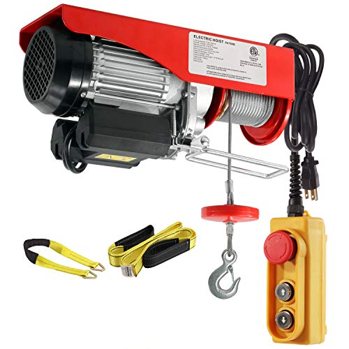1540 Lift Electric Hoist Crane Remote Control Power System, Zinc-Plated Steel Wired Overhead Garage Ceiling Pulley Winch w/Premium Straps (w/Emergency Stop Switch)