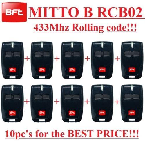 10X BFT MITTO B RCB02Telecomando a 2canali, 433,92MHz ROLLING CODE Hand Sender. 10pezzi.