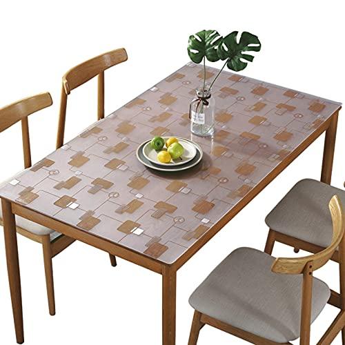 Mantel de Hule Rectangular Esmerilado Transparente 1.5 mm Protector de Mesa de PVC Impermeable para Mesa de Comedor Escritorio Limpiable - Cuadros 80x120cm (31x47 Pulgadas)