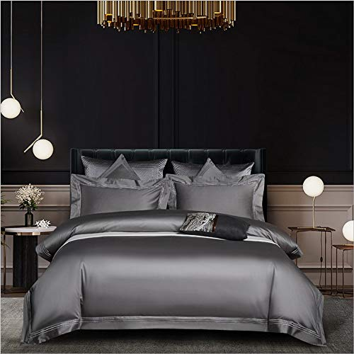 DUIPENGFEI Four-Piece Solid Color Brushed Embroidery Bed Set, Cotton Skin-Friendly Duvet Cover Set, Medium Gray, Double Duvet Cover 200X230Cm