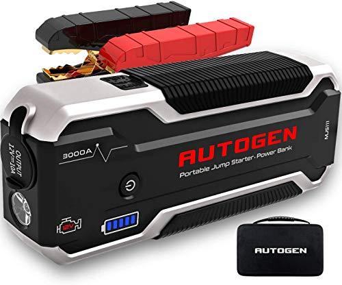 AUTOGEN Arrancador de Coches 3000A 24000mAh(10.0L Gas & Diesel), Paquete de Refuerzo de Caja de Puente de batería de 12V, USB QC 3.0, Paquete de energía portátil para automóviles, SUV, Camiones.