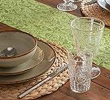 AmaCasa Tischläufer Ornament Wasserabweisend | Tischband mit Lotoseffekt | 30cm/20m | Grün | Dekorativ für Partys und andere Feierlichkeiten | Abwaschbarer Tischläufer zum wiederverwenden - 8