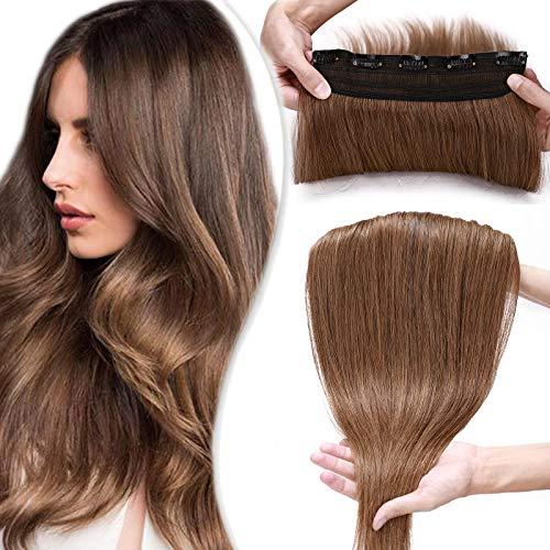 SEGO Extension Capelli Veri Clip Fascia Unica Folta 50cm Extensions Human Hair 100% Remy con 5 Clips Larga 22cm - #6 Marrone Chiaro 95g