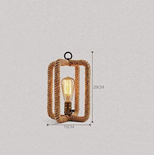 NA Gyy Home Hotel Lighting Tafellamp met retro touw chic, bedlampje slaapkamer barlamp Cafeteria Studio woonkamer bureaulamp decoratieve tafellamp