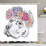 EnvyPet Shower Curtain Set with Hooks Pitbull Wreath Pet