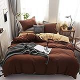 BH-JJSMGS Reine Farbe weiche Mikrofaser-Bettwäsche und Kissenbezug-Verblassen und Flecken-beständiger Bettbezug, Reiskamelkaffee 150 * 200cm