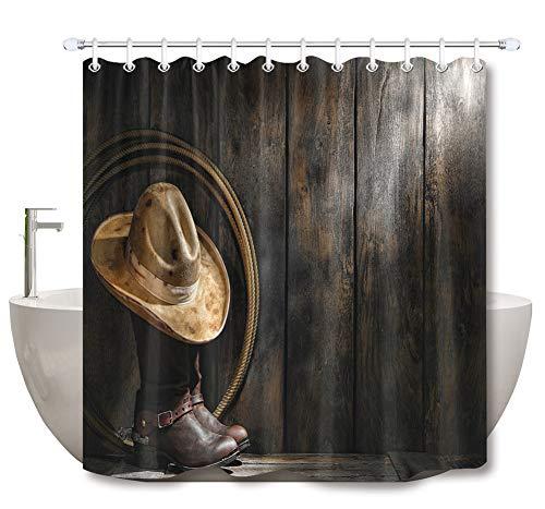 ZZZdz Western Cowboyhoed en laarzen. Douchegordijn. 180 x 180 cm. 12 vrije haken. Huisdecoratie. 3D Hd-druk. Eenvoudig te reinigen. Badkameraccessoires.