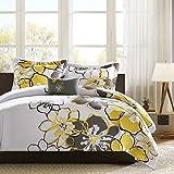 MI ZONE Allison Duvet Floral Design, All Season Comforter Cover Teen Bedding, Girls Bedroom Décor, Full/Queen, Yellow