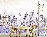 Papel pintado de mariposa de diente de león de lavanda púrpura para decoración de pared de sala de estar de dormitorio Mur Pared Pintado Papel tapiz 3D dormitorio de estar sala sofá mural-400cm×280cm