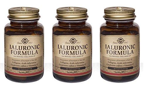 SOLGAR-IALURONIC FORMULA 3 CONFEZIONI DA 30 TAVOLETTE-contribuisce alla protezione delle cellule dallo stress ossidativo e alla normale formazione del collagene di pelle e cartilagine