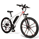 Carsparadisezone Bicicleta Eléctrica de Montaña Ciclomotor 350W 26 Pulgadas de Aluminio Bateria de Litio 48V 8AH Autonomía de 80KM Frenos de Disco 3 Modos de Arranque para Adultos [EU Stock]