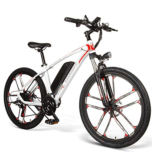 Carsparadisezone Bicicletta Elettrica da Montagna Assistita Ciclomotore 26 Pollici Motore 350 W Mountain Bike in Alluminio Batteria Litio 48V 8Ah Freni a Disco 3 modalità di Avvio [EU Stock]