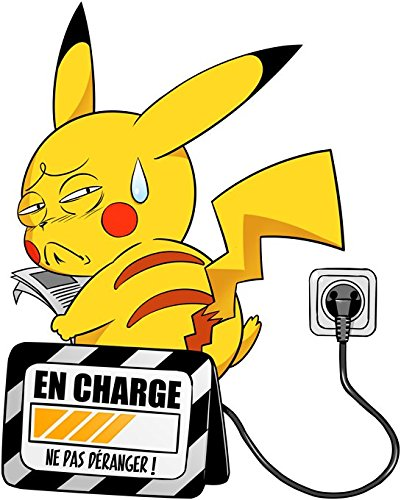 T-Shirt Manga - Parodie Pikachu de l'Animé Pokémon - En charge... (Super Deformed) - T-shirt Homme Noir - Haute Qualité (860) - Small