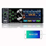 Henstar 3.8 inch Single din Touch Screen car Stereo,2021 New car Radio with Bluetooth/FM/AM/Remote Control/Backup Camera/Microphone/Mirror Link&Steering Wheel Control (Renewed)