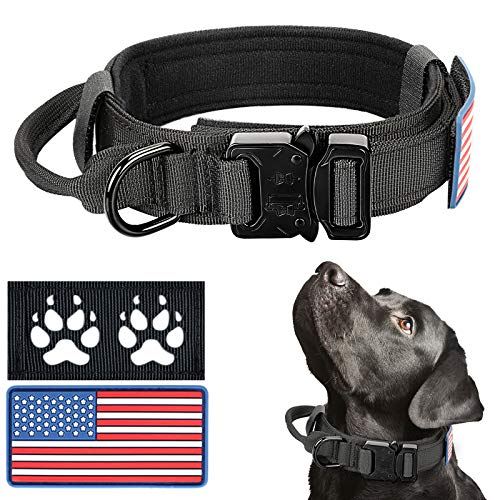 Tactical Dog Collar for Medium Large Dogs, Black Military Thick Dog Collar with Handle - Adjustable Heavy Duty Metal Buckle Reflective K9 Collar with USA American Flag 2 Patches