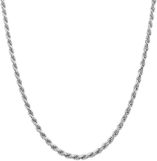 3mm Twisted Rope Chain Link Necklace Diamond Cut 18K White Gold Plated for Men Women Boys Girls 18-26 Inches