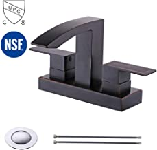 KES cUPC NSF Certified BRASS Two Handle Bathroom Waterfall Faucet with Drain Assembly Lavatory Vanity Sink Faucet 4-Inch Centerset Morden Square Hotel Style Oil Rubbed Bronze, L4101LF-ORB