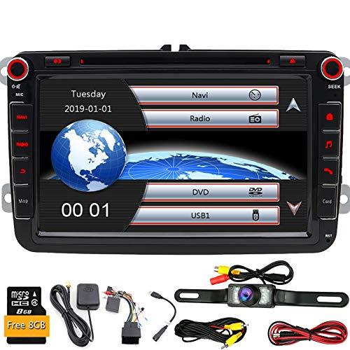 """8""""2 DIN stéréo de voiture pour VW Golf Skoda Assise avec WinCE Système lecteur DVD Navigation GPS Bluetooth radio AM FM USB SD support caméra de recul vidéo Full HD 1080p + Caméra de recul"""
