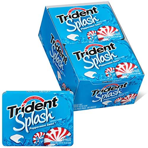 Trident Splash Peppermint Swirl Sugar Free Gum, 10 Packs of 9 Pieces (90 Total Pieces)