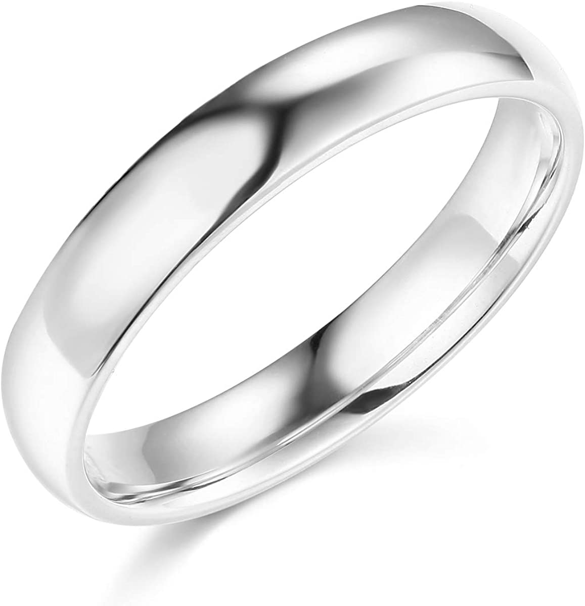 Wellingsale Ladies 14k Yellow -OR- White Gold Solid 4mm COMFORT FIT Traditional Wedding Band Ring