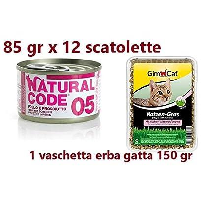 12 scatolette da 85gr Natural Code 05 Pollo e Prosciutto. Cibo Umido per Gatti + Erba per Gatti, Erba Gatta in vaschetta da 150g