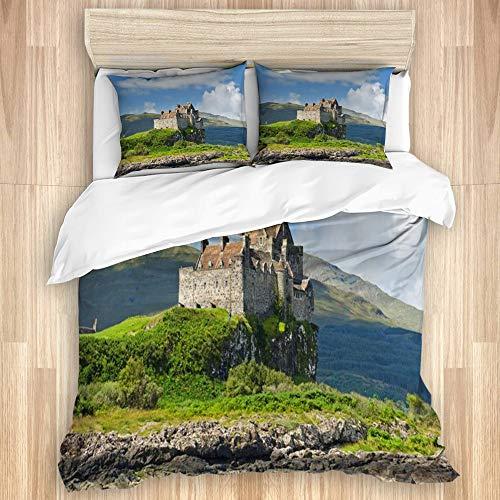 MIFSOIAVV Funda nórdica y Funda de Almohada,Ver el Cielo en la Costa Verde de Las Hébridas Reino Unido Duart Castle Durante el Verano Parques Naturale...