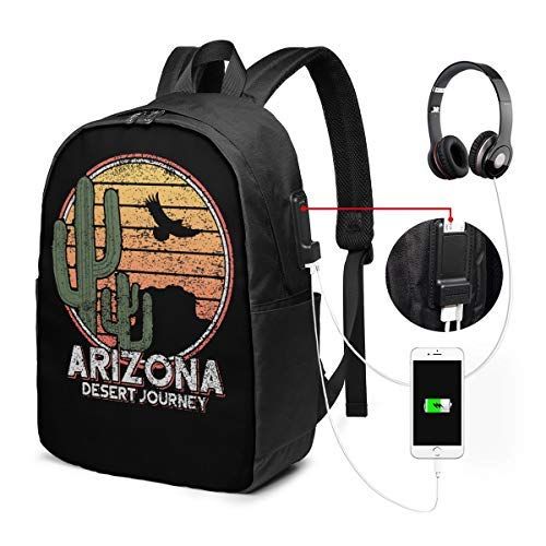 Mochila unisex con puerto de carga USB Arizona Icon Cactus y Eagle Classic Fashion General Business Bookbag