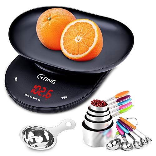 Digital Food Kitchen Scale with Bowl, 10 Piece Measuring Cups and Spoons Set Stainless Steel, Egg Separator, LCD Display Scale Weight Grams and Ounces Kitchen Measuring Set for Cooking and Baking