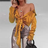 RVXZV Silcsqb Chic Satin Women Blouse Lace Up Bowknot Short Shirts Lady V Neck Blouses Party Nigh Clubwear Tops Outfits Woman M Yellow