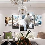 DKEE Mural de Pared Snow White Tiger Decoración Animal Wulian Picture Frame Núcleo Pintura Mural HD Micro Spray Sencillo y Moderno Hogar Sala de Estar Sofá Hotel 5pcs / Set