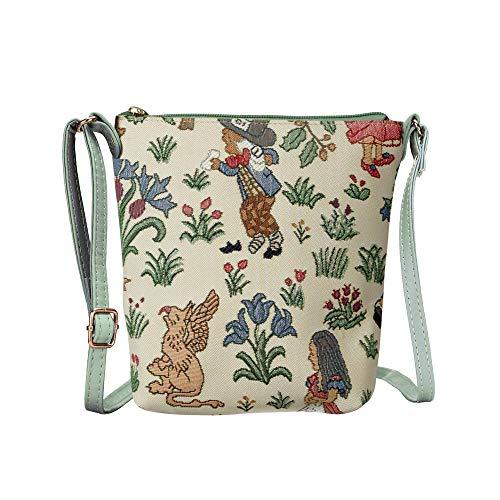 Signare Tapisserie Kleine Tasche Damen, Handtasche Damen Klein, Reisepass Tasche, Mini Handtasche (Alice im Wunderland)