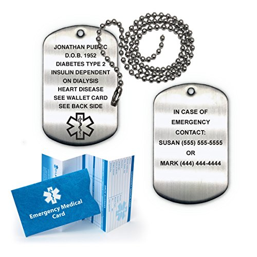 Medical Alert ID Brushed Stainless Steel Dog Tag with 27' Chain (incl. 15 Lines of Custom Engraving)