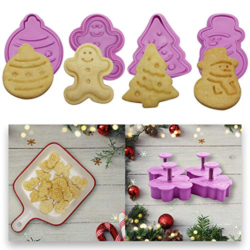 Mini 3D Christmas Cookie Cutters Set, Christmas Holiday Fondant Biscuit Pastry Cookie Cutter Stamp, Xmas Spring-loaded Handle Cutter Shape with Santa, Christmas Tree, Bell, Gingerbread Man (4 PCS)