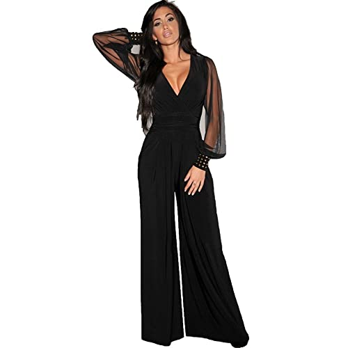5d4775becfda emmarcon Tuta Elegante Pantaloni Lungo Jumpsuit Vestito Abito Cerimonia da  Donna