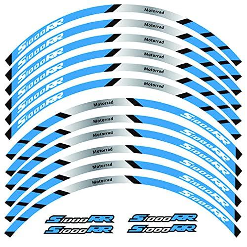 Motocicleta Frente y Ruedas traseras Edificio Etiqueta de Rim Exterior PEQUEÑA Raza DE RAZONAL DE FRANQUILLA para BMW S1000RR (Color : B Blue)