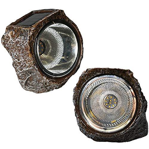 SODIAL Lampada da Roccia un Energia Solare per Giardino nel Pietra, 10 LED un Luce Solare Impermeabile per Giardino, Patio, Cortile Percorso Vialetto Paesaggio Roccioso (Confezione da 2)