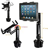 """ChargerCity LongArm Xtreme Tablet Beverage Drinks Cup Holder Mount w/10inch Arm & 360º Swivel Adjust for All 7 8 10 12"""" Tablet Like Apple iPad PRO Air Mini Samsung Galaxy Tab Surface Pro/Book"""