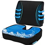 Cooling Gel Seat Cushion for Office, Coxyx Memory Foam Car Seat Cushion & 3D Mesh Lumbar Support Pillow, Orthopedic Seat Cushion Chair Lumbar Support Back Pillow for Reliving Lower Back Tailbone Pain